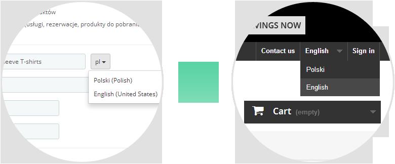 Wybór języka w sklepie internetowym